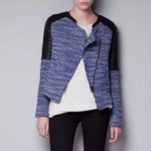 Zara blue tweed leather moto jacket